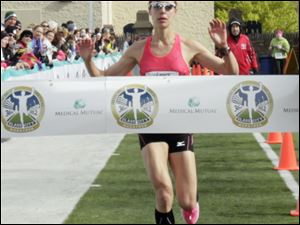 Jessica Odorcic, of Madison, Ohio, finished the marathon in 2 hours and 51 minutes.