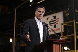Mitt Romney speaks Monday at Consol Energy Research and Development Facility in South Park Township, Pa., on a campaign stop ahead of the state's primary.