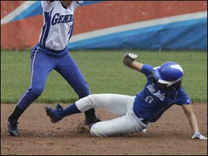 Anthony Wayne's Bree Megyesi is late on the tag as Springield's Jacey Gray slides into 2nd.
