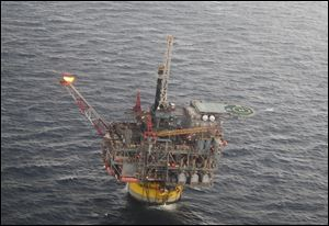 The Perdido oil platform, operated by Shell Oil Co. and owned by Shell, Chevron and British Petroleum, is located 200 miles south of Galveston, Texas, in the Gulf of Mexico.