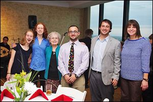 Harriet Goldberg, third from left, is flanked by 5 of her grandchildren. Gavi and Allie Forman to the left, and Adam, Josh, and Adrienne Goldberg to her right.