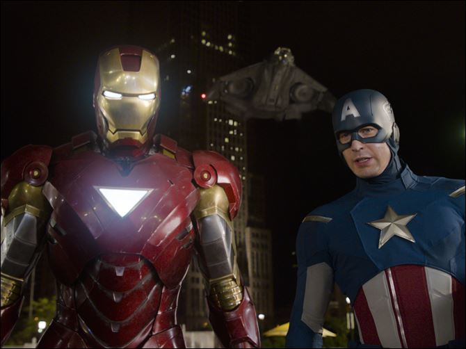 Film Review The Avengers Iron Man Cap Roberty Downey, Jr., and Chris Evans, right, play Iron Man and Captain America in Marvel's 'The Avengers.'