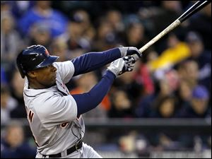 Detroit Tigers' Austin Jackson hits an RBI sacrifice fly against the Seattle Mariners in the sixth inning Wednesday night.