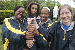 Notre Dame has great depth as a team this season with, from left, Chantalia Young, Jessika Matthews, Lexis Williams, and Erin Schaefer. The Eagles won titles at two prestigious events this season -- the Mansfield Mehock Relays and the Dayton Roosevelt Memorial.