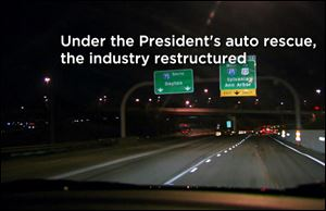 A TV ad for President Obama features a part of I-475.  It is one of two that start airing on Friday, joining a third that hit television screens in Ohio earlier in the week.