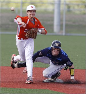 Southview's Colin Boerst turns the double play after forcing out Whitmer's Jack Linch at second base.