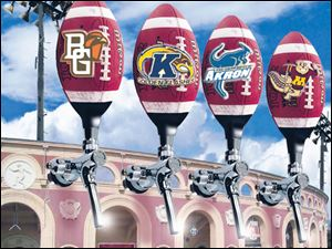 Bowling Green, Kent State, Akron, and Minnesota are four of the schools which sell beer at their games. In major college football, beer is sold at 22 of the 120 stadiums, twice as many as a decade ago.
