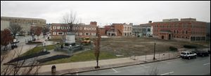 Vacant site that was once the Seneca County Courthouse on Thursday, in Tiffin, Ohio.