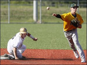 Clay's Kaleb Kuzma (2) turns a double play against St. John's Jesuit's Jimmy Scott (5)in the seventh inning.