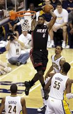 APTOPIX-Heat-Pacers-Basketball-LeBron-James-dunk