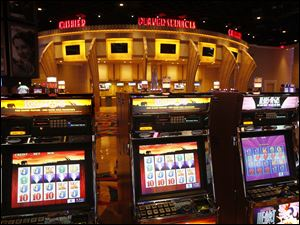 A total 2,002 glitzy slot machines are housed in the Hollywood Casino on the Maumee River banks.
