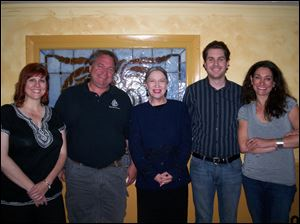The cast of 'Becky Shaw,' from left: Cindy Bilby as Becky Shaw, Lane Hakel as Max Garrett, Kate Argow as Susan Slater, James MacFarlane as Andrew Porter, and Kate Abu-Absi as Suzanna Slater. The reading will be presented at 8 p.m. Saturday at the Toledo Repertoire Theatre, 16 10th St.