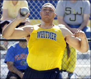 Chris Wormley of Whitmer qualified to state after finishing second in the discus and third in the shot put at the Division I regional.