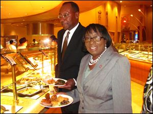 Jay Black and Sen. Edna Brown check out the Epic Buffet.