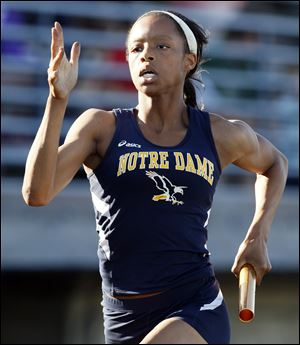 Lexis Williams of Notre Dame qualified to state in the 100 and 200-meter races and is a member of the qualifying 800 relay team.