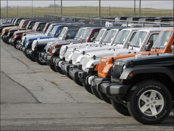 Jeep Wranglers boosting sales  Jeep Wranglers await shipment from the Toledo Assembly Complex, Chrysler Group's sole Wrangler factory.