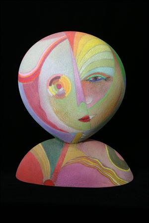 'Angelina,' blown glass and colored pencil by Tom McGlauchlin, is part of a new show honoring the artist at 20 North Gallery.