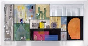 Therman Statom's glass artwork titled 'Paris' is displayed in the current images exhibition in the Walter E. Terhune Art Gallery at Owens Community College in Perrysburg Township.