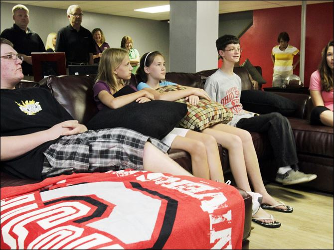 Leukemia patient gets his wish for  OSU-theme room Jarred Wise, 13, second from right, is joined by his brother Matt, 16, left, cousins Taryn Wise, 14, and her twin, Taylor, and Tiffanie Helm in the renovated basement of Jarred's home. Jarred, an eighth grader at Anthony Wayne Junior High School, is undergoing treatment for leukemia.