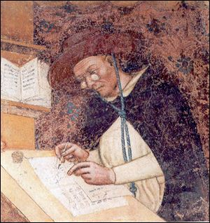 The oldest depiction of eyeglasses can be found in this fresco by Tomaso da Modeno, in 1352 in the hall of the church of san Nicolo in Treviso, Italy.
