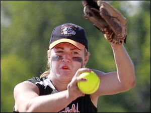 Summerfield High School pitcher Emily Puterbaugh hurls a shot against Concord High School during the first inning of their Division 4 Regional semifinal.