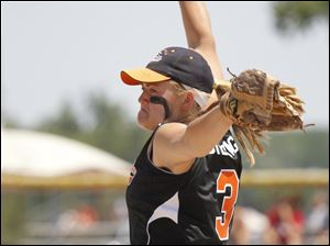 Bulldogs pitcher Emily Puterbaugh throws against Hudson Area High School in the first inning during their Division 4 Regional final game.