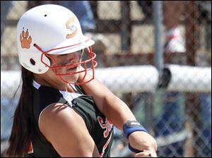 Summerfield's Sydney Spalding singles in the sixth inning.