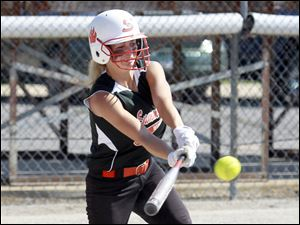 Summerfield's Taylor Goodin,singles in the second inning Concord.