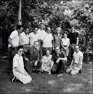 Participants in the 1962 Toledo workshop included, front from left, Rosemary Gulassa, Harvey Leafgreen, June Wilson, Robert C. Florian, and Harvey Littleton, and, back from left, John C. Karrasch, Octavio Medellin, Clayton Bailey, Stanley Zielinski, Norman Schulman, Diane Powell, Edith Franklin, and Eric Erickson.