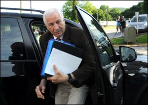 Former Penn State assistant football coach Jerry Sandusky shown arriving at court this week for his trial at the Centre County Courthouse in Bellefonte, Pa.