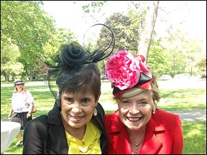 Susan Palmer and Diane Rusk sporting Jill Henning hats at Crosby Garden Awards.