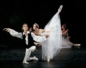 A scene from Chopiniana to be performed by the Russian national Ballet at the Valentine. 'Swan Lake' will glide on stage Jan. 10.