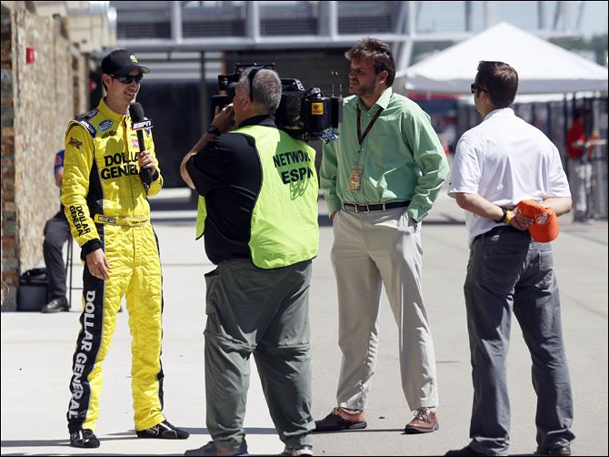 Logano keeps on rolling Joey Logano films a spot for ESPN at Michigan International Speedway. The 22-year-old has won five out of the last eight Nationwide races after winning Saturday's Alliance Truck Parts 250.