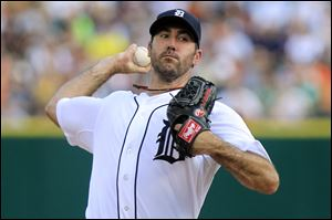 Detroit Tigers starting pitcher Justin Verlander throws during the first inning of a baseball game against the St. Louis Cardinals in Detroit, Tuesday.