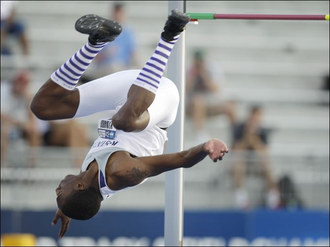 NCAA Outdoor Championships Athletics Kansas State's Erik Kynard clears the bar on his way to winning the men's high jump at the NCAA outdoor track and field championships June 7 at Drake Stadium in Des Moines, Iowa.