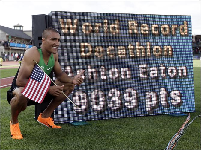 US Track Trials Athletics Ashton Eaton poses for a picture after the 1500m during the decathlon competition at the U.S. Olympic Track and Field Trials Saturday  in Eugene, Ore. Eaton finished the decathlon with a new world record.