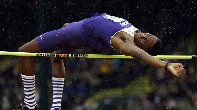 Erik Kynard Jr., participates in the men's high jump finals at the U.S. Olympic Track and Field Trials in Eugene, Ore.