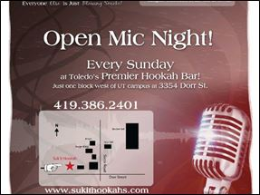 Sukit Hookah Open Mic Night Flyer