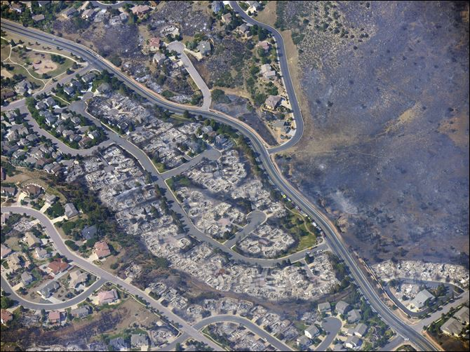 APTOPIX Western Wildfires Mtn Shadows This aerial photo taken on Wednesday shows burned homes in the Mountain Shadows residential area of Colorado Springs, Colo., that were destroyed by the Waldo Canyon wildfire.