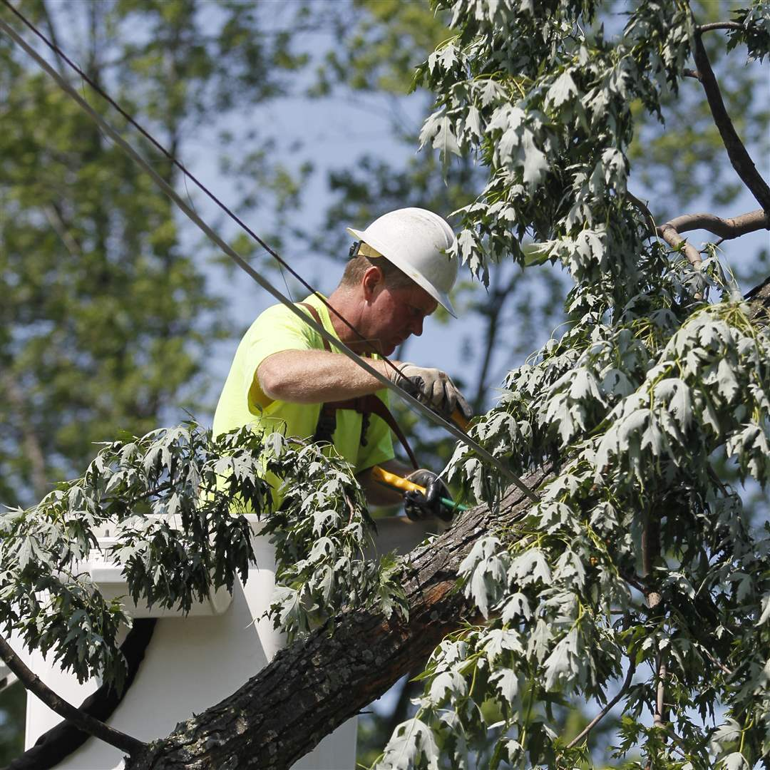 Jim-Barger-of-Tiffin-a-contractor-for-Time-Warner-works-to-remove-a-tree-branch