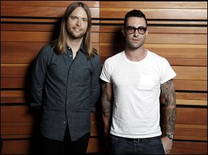 "Adam Levine, right, and James Valentine of the band Maroon 5, which released the album ""Overexposed"" last week."