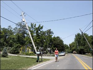 Elisabeth Brand walks under wind-tilted power lines.