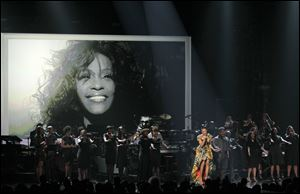 Monica performs during the in memoriam for Whitney Houston at the BET Awards Sunday.