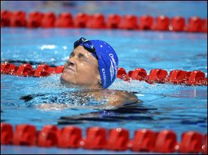 Dara Torres grimaces after finishing fourth in the 50-meter freestyle in the Olympic Trials.