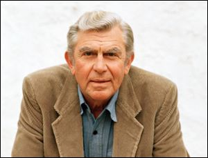 "Actor Andy Griffith in Toluca Lake, Calif. Griffith, whose homespun mix of humor and wisdom made ""The Andy Griffith Show"" an enduring TV favorite, died Tuesday.  He was 86."