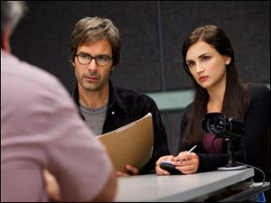 "Eric McCormack, left, and Rachael Leigh Cook in a scene from ""Perception,"" premiering at 10 tonight on TNT."