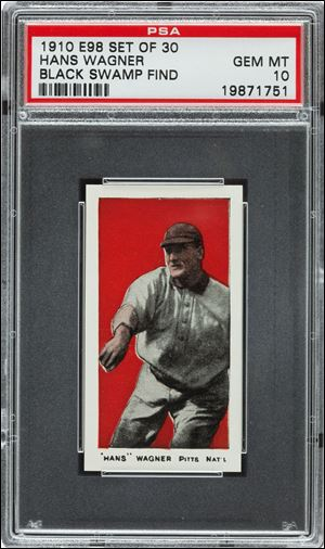 A 1910 Honus Wagner baseball cards found in the attic of a house in Defiance, Ohio.