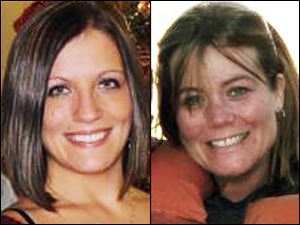 Amy Merrill, right, 34, and her younger sister, Lisa Gritzmaker, left, 24, were fatally shot at Ms. Merrill's home shortly after 11:40 p.m. Friday.