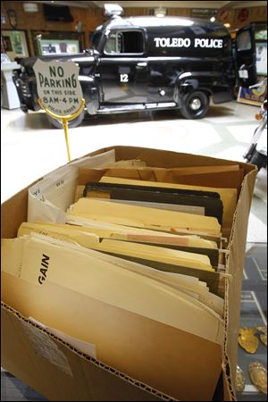 Documents from the Toledo Police intelligence are assembled in a box at the Toledo Police Museum.