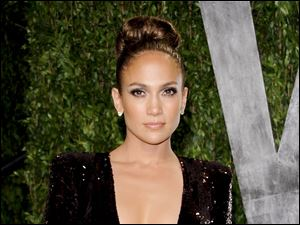 Jennifer Lopez arrives at the Vanity Fair Oscar party in West Hollywood, Calif.